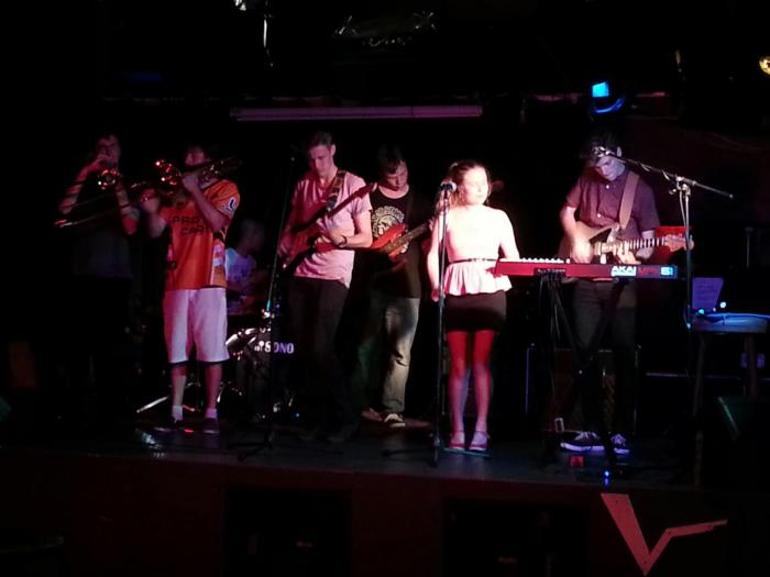 Le Tour De Funk with new member playing at the Valve Bar at Tempe, Sydney. From left to right: Stuart McNair, Kyle Eardley, Rhyan Clapham, Hayden Wilkinson, Jake Parker, Emily Ritchie and Sam Pfister. Photo by Leigh Reeve.