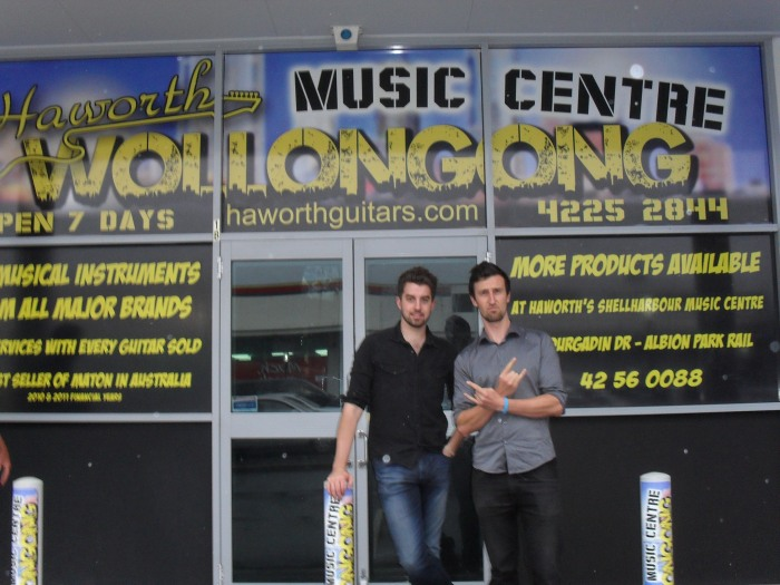 Glenn Haworth and Store Manager Kane Dennelly at the new Haworth Music Centre in Wollongong.Photo by Mandy Craig