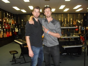 Kane Dennelly and Glenn Haworth inside Haworth Music Centre Wollongong.Photo by Mandy Craig