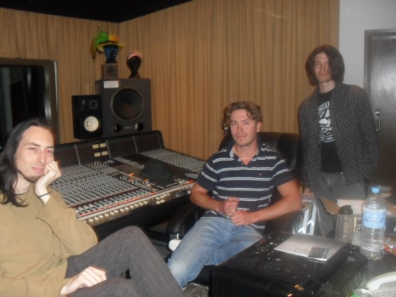 Lint, sitting in Mainstreet Studios talking about their upcoming album Existence. From Left to Right: Brad Hayne (Guitar), Clint Coker (Bass/vox) and Dave Gollop (Drums)  Photo taken by Mandy Craig