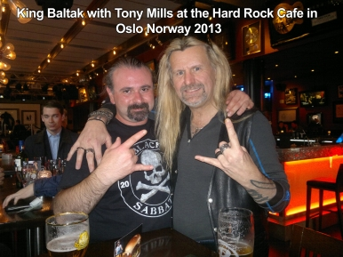 """""""Meeting up with UK Rock/Metal Legend Tony Mills was a great experience, we met for the first time at the Hard Rock Café in Oslo/Norway in 2013. Looking forward to the release of his solo album early next year."""" King Baltak. Photo Courtesy of Battlegod Productions."""