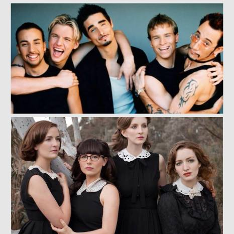 All Our Exes Live in Texas and the Backstreet Boys.  Bottom image: Hannah Crofts, Elana Stone, Katie Wighton and Georgia Mooney.  Photo courtesy of All Our Exes Live in Texas.